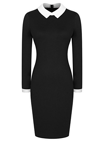 [Miusol Women's Formal Contrast Color Long Sleeve Black Pencil Business Dress, Black, Large] (Wednesday Addams Costume)