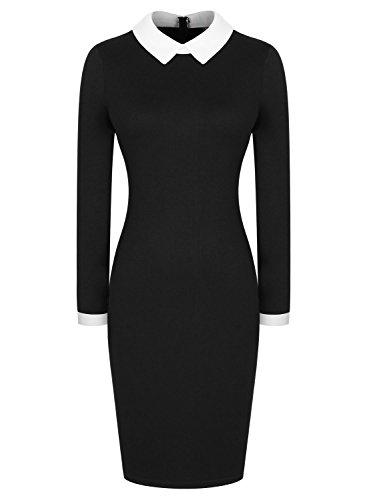 Miusol Women's Formal Contrast Color Long Sleeve Black Pencil Business Dress, Black, -