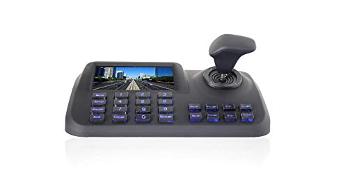 CTVISON PTZ Camera Controller Network Keyboard Joystick Keyboard 4D IP PTZ Controller with LCD Monitor Display Onvif Protocol Support Great for IP PTZ Camera(Black) ()