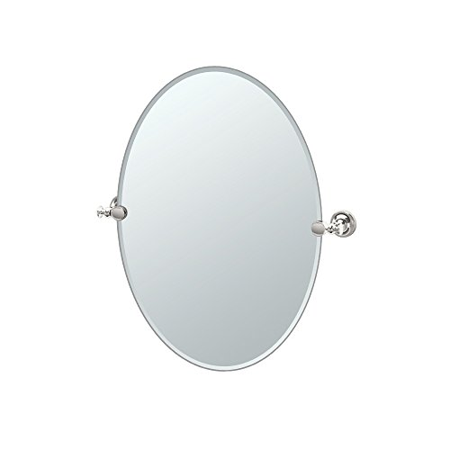 Polished Nickel Finish Mirrors - Gatco 4129 Tavern Oval Mirror, Polished Nickel