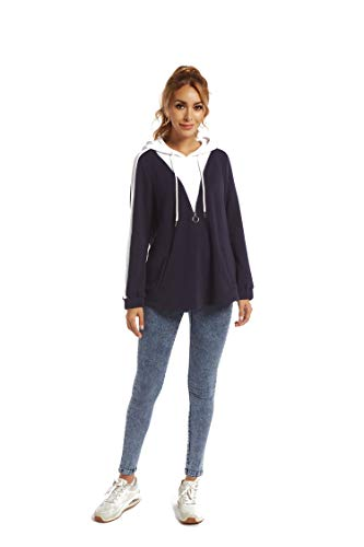 SUGAR POISON Fashion Hoodies Sweatshirts, Womens Color Block Long Sleeve Knit Drawstring Hooded Pullover Sweatshirts…