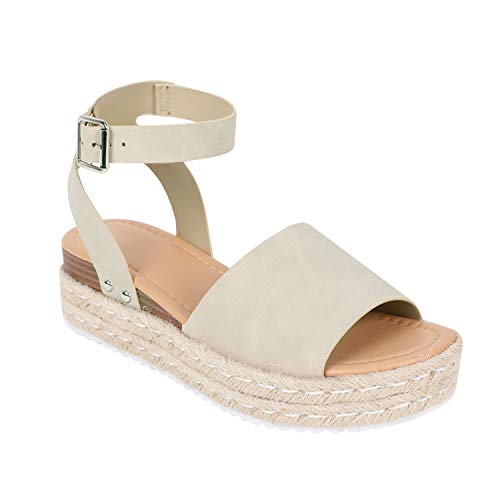 (FISACE Womens Summer Espadrille Ankle Strap Flat Sandals Peep Toe Flip-Flop Shoes (7.5 M US, ZZZ-Taupe))