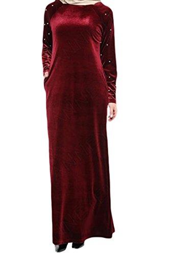 Rosso Coolred Full Musulmano Colore Di Puro Length Donne Islamico Abito Velluto Delle Tallone zTw7pp