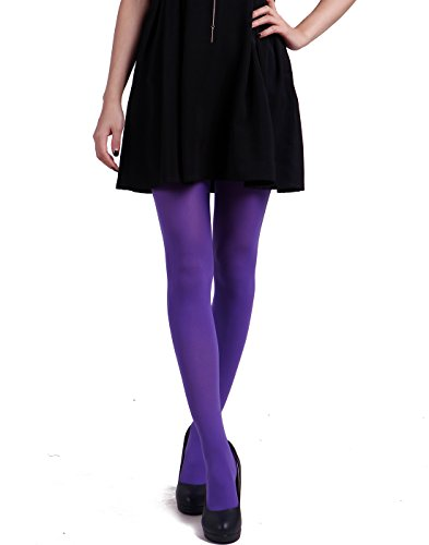 HDE Women's Solid Gradient Color Stockings Opaque Microfiber Footed Tights (Violet)