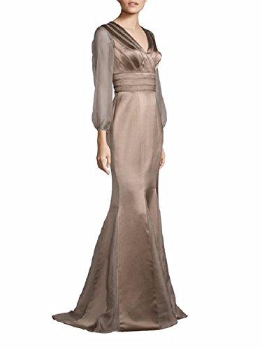 - Kay Unger New York Women's Long Sleeve Satin Mermaid Gown 16 Latte