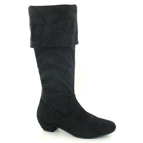 Ladies Spot On Mid Heel High Leg Boots / Turnover Collar Black