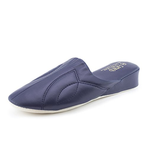 Easy Womens Vinyl Lounge House Slippers (Adults) Navy