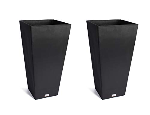 Veradek Midland Tall Square Planter - Black- 28 in.-2 - Materials Black Plastic Recycled