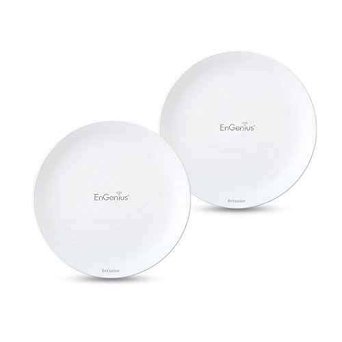 EnGenius Wireless Outdoor AP/Client Bridge/CPE, directional antenna, long-range, point-to-point, IP55, 26 dBm,19 dBi, Gigabit Port, 802.3af/at PoE, [2-Pack] (N-EnStationAC Kit)