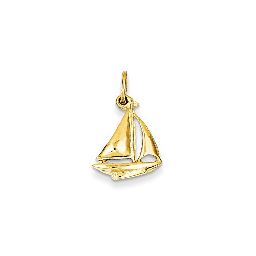 Gold Sailboat - Mireval 14k Yellow Gold Sailboat Charm (12 x 19 mm)