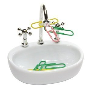 Bluecell White Plastic Faucet Sink design Paper Clip Dispenser Holder