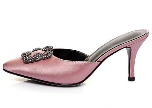 Chaussures Pink Pantoufles Neige Femmes MSM4 à décoratifs de Sandales Tribunal Talons Mode Empeigne Strass Chaussures Hauts 423 Flocon Muller de HfZq0