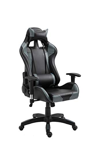 Ultimate Office Desk Chair Have New Gaming Styling, Leather Swivel Executive Office Home Chair with Adjustable Headrest & Lumbar Support Black