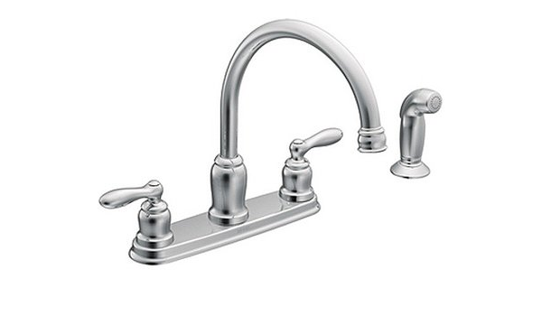Amazon Com Moen Ca87888 Chrome Caldwell Two Handle High Arc Kitchen Faucet Home Kitchen