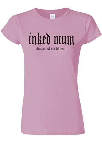 かごシフトライラックInked Mum Is Cooler Novelty Light Pink Women T Shirt Top-S