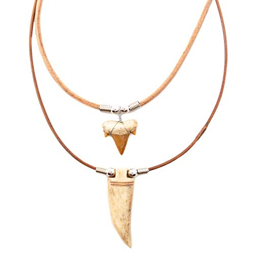 - Shark and Tiger Tooth Pendant Necklace Set for Men Boys - Handmade - Genuine Teeth Pendants on Leather Cord with Real Ox Bone and Horn Beads - Cool Surfer Hawaiian Beach Style Jewelry (Natural)