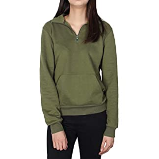Smile Fish Women Teddy Fleece Quarter-Zip Sweatshirts Long Sleeve Lightweight Pullover Top 11
