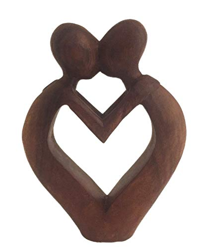 """12/"""" Wooden Abstract Sculpture Statue Hand Carved /""""Everlasting Love/"""" Gift Decor"""