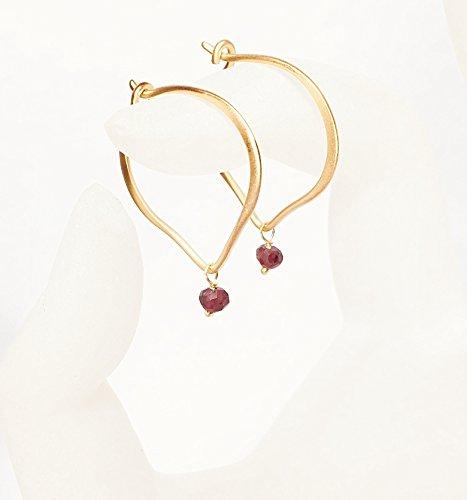 Garnet Hoop Earrings, Gold Vermeil Ear Wires, January - Date Ring Garnet