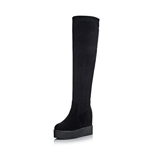 haute bottes de mode/ fond plat bottes/ sur les bottes de genou/Version coréenne de cuir bottes-A Longueur du pied=22.3CM(8.8Inch)