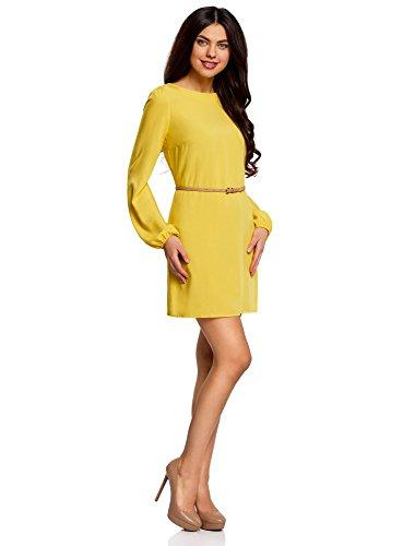 oodji Ultra Mujer Vestido Básico de Viscosa con Cinturón Amarillo (5100N)
