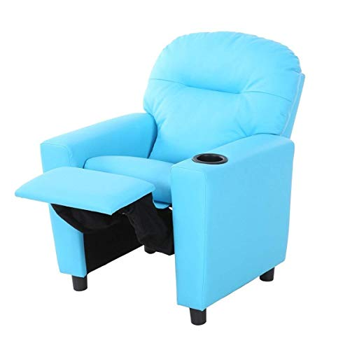 (HONEY JOY Contemporary Kids Recliner, PU Leather Lounge Furniture for Boys & Girls W/Cup Holder, Children Sofa Chair (Blue))