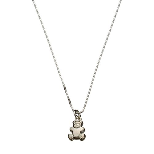 Sterling Silver Tiny Teddy Bear Charm Box Chain Nickel Free Necklace Italy, 18