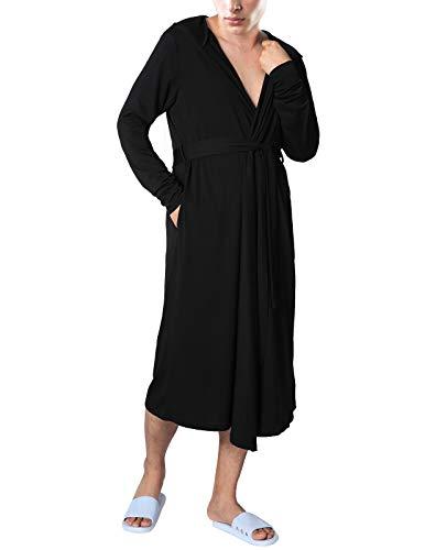 (Mens Pjs Cotton Winter Robe Kimono Style Hooded Bathrobe Black Medium)