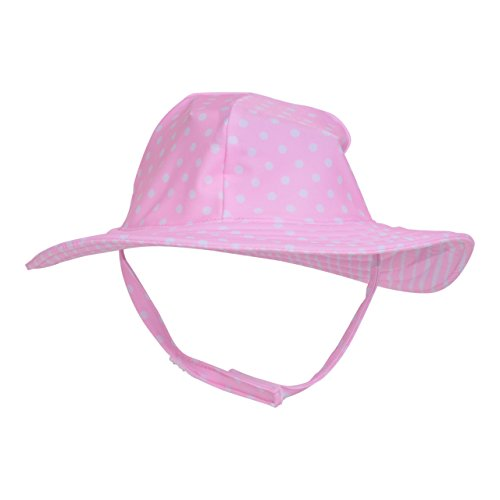 Flap Happy Baby Girls UPF 50+ Summer Splash Swim Hat, Pink dots, Medium