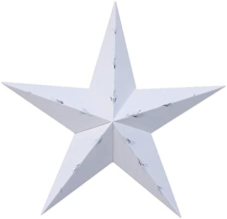 AMISH WARES 10 Inch Rustic White Barn Star Galvanized Metal Tin Painted Barn Star Farmhouse Country Decor Rust Resistant Outdoor Decor