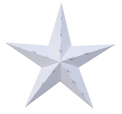 AMISH WARES 10 Inch Rustic White Barn Star Galvanized Metal Tin Painted Barn Star Farmhouse Country Decor Rust Resistant Outdoor Decor ()