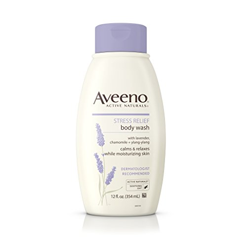 Aveeno Stress Relief Body Wash with Soothing Oat, Lavender, Chamomile & Ylang-Ylang Essential Oils, Hypoallergenic, Dye-Free & Soap-Free Calming Body Wash gentle on Sensitive Skin, 12 fl. (Ylang Ylang Lavender)