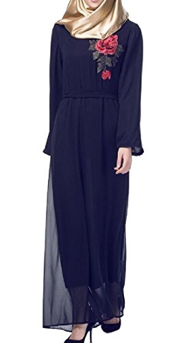 SportsX Women Crewneck Muslim Abaya Long Sleeve Embroidered for sale  Delivered anywhere in USA