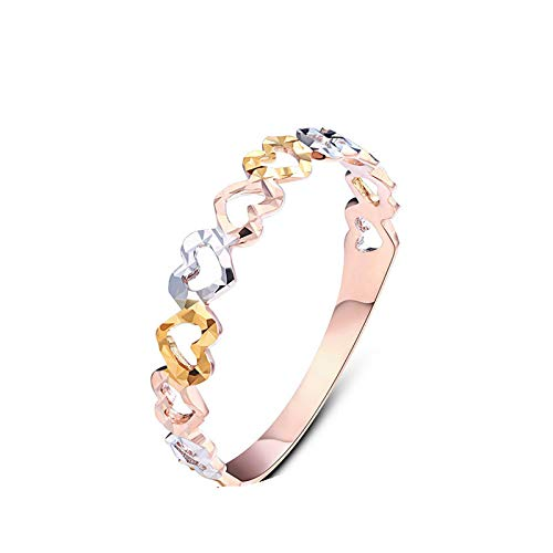 Aokarry Jewelry 18K Gold Promise Wedding Bands Ring for Womens Tricolor Hollow Heart Size 7
