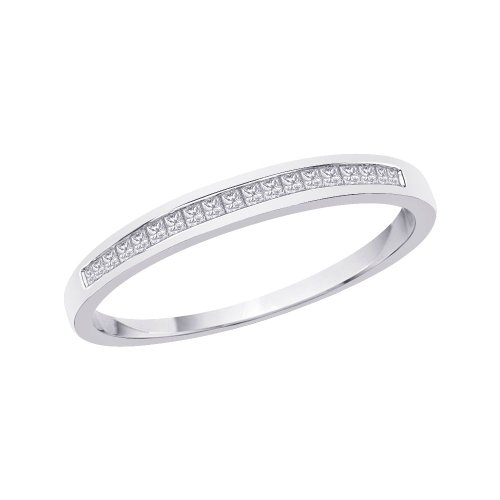 KATARINA Princess Cut Diamond Wedding Band in Sterling Silver (1/10 cttw, Color GH, Clarity SI2-I1) (Size-6)