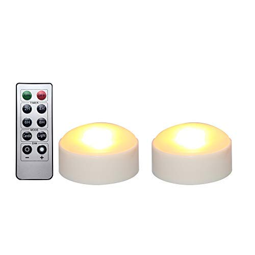 iZAN Halloween Battery Operated LED Pumpkin Lights with Remote and Timer, Bright Flickering Flameless Candles for Pumpkin Decor, Jack-O-Lantern Halloween Party Home Decorations, White Color, 2 Pack -