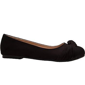Women's Wide Width Flat Shoes - Comfortable Slip On Round Toe Ballet Flats. (Mc Black 180303,9.5ww) 1