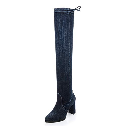 Pure bluee Cowboy Stretch high Boots high Heel Over The Knee Thick Pointed Martin Boots Female Autumn Winter