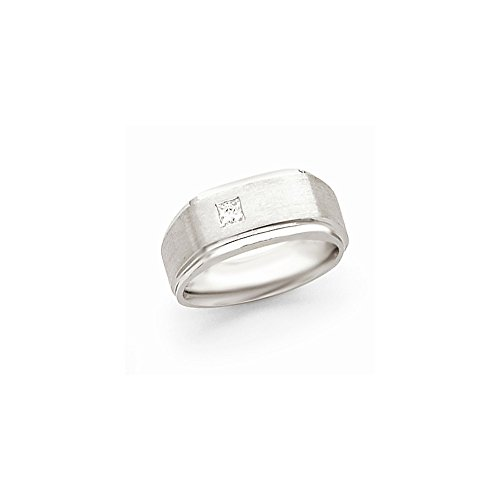 JewelrySuperMart Collection 1/5 CT 14k White Gold AA Diamond Men's Band. 0.209 ctw. Size 10.5