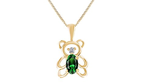 Jewel Zone US Simulated Green Emerald & Diamond Accent Teddy Bear Pendant 10K Solid Gold (1/4 Ct) ()