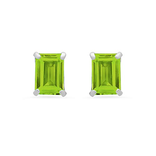 Emerald Cut Peridot Post Earrings - 14k White or White Gold Solitaire Emerald-Cut Peridot Stud Earrings (7x5mm)