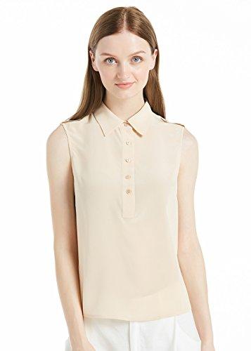 LILYSILK Camisa Mujer de Seda Sin Mangas - 100% Seda Natural 18 MM, Super Cómoda y Transpirable Arena