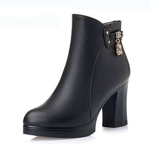 Moda Tacón Botines Pingxiannv Cuero Otoño Damas De Alto Botas Gruesas Zapatos Fiesta Mujer Invierno qwgwErUpP