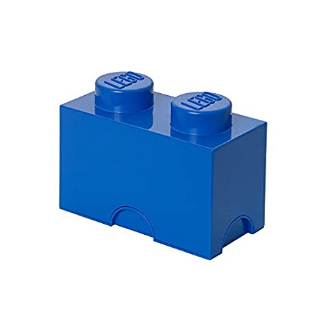 LEGO Brick 2 Knobs Stackable Storage Box, Bright Blue, 2.6 Litre Plast Team 5706773400218