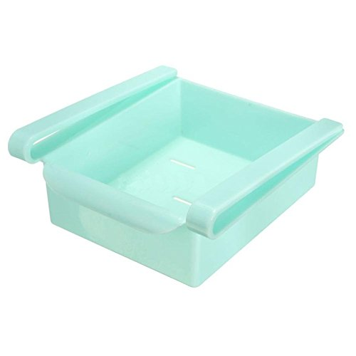 Cacys-Store - Mini ABS Kitchen Fridge Freezer Space Saver Organizer Storage Rack Slide Drawer Bathroom Shelf ()