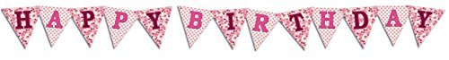 Two Up Two Down Fete Pink Happy Birthday Personalised Bunting Banner by Two Up Two Down for $<!--$36.49-->