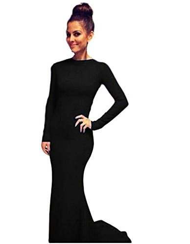 Gowns Evening Black DreHouse Dresses Prom Mermaid Formal 2018 Long Women's Backless Sleeves pwRqz0