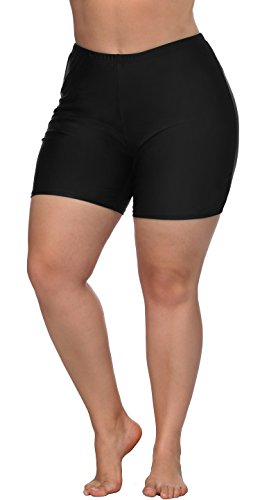 ATTRACO Ladies Boardshorts Plus Size Solid Stretch Swimwear Bottoms Black ()