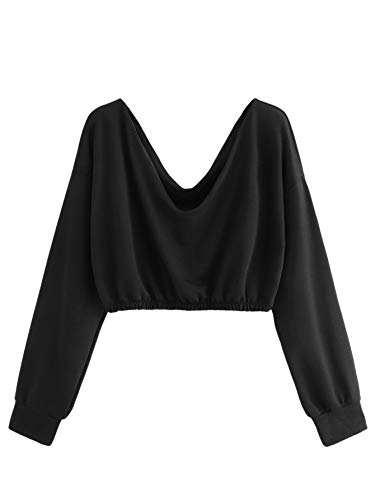 Verdusa Women's V Neck Pullover Long Sleeve Crop Top Sweatshirt Black L