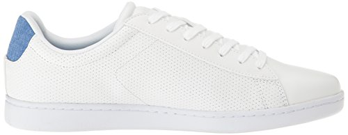 Lacoste Mens Carnaby EVO Fashion Sneaker Perforated White/Blue z3Kri